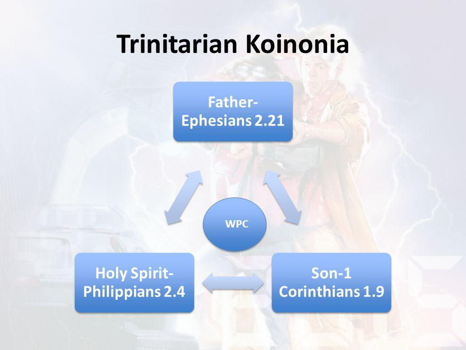 Trinitarian Koinonia Father- Ephesians 2.21 Son-1 Corinthians 1.9 Holy Spirit- Philippians 2.4 WPC