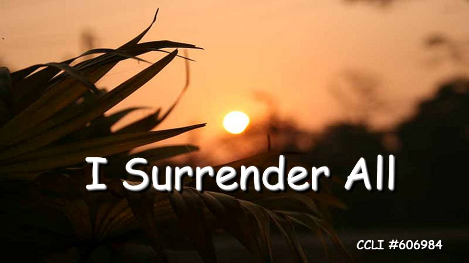 I Surrender All CCLI #606984