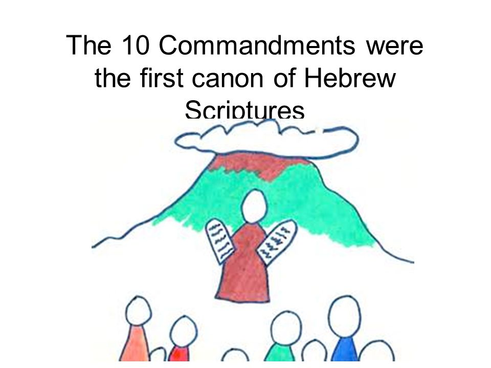 The 10 Commandments were the first canon of Hebrew Scriptures