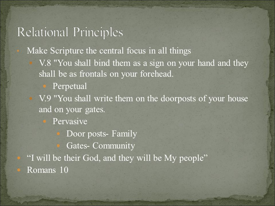 Make Scripture the central focus in all things V.8