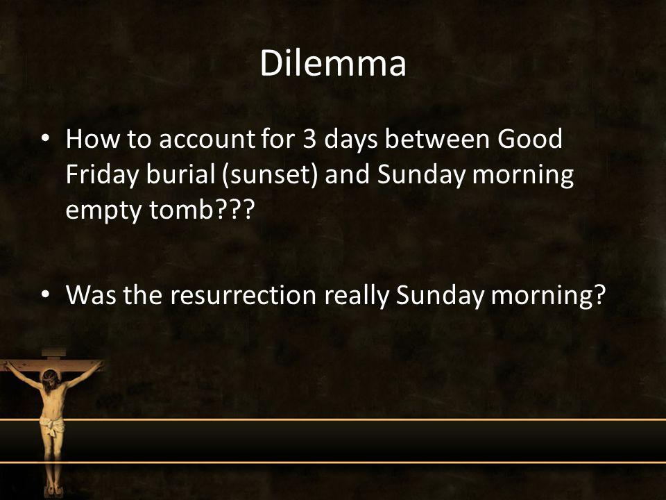 Dilemma How to account for 3 days between Good Friday burial (sunset) and Sunday morning empty tomb??.