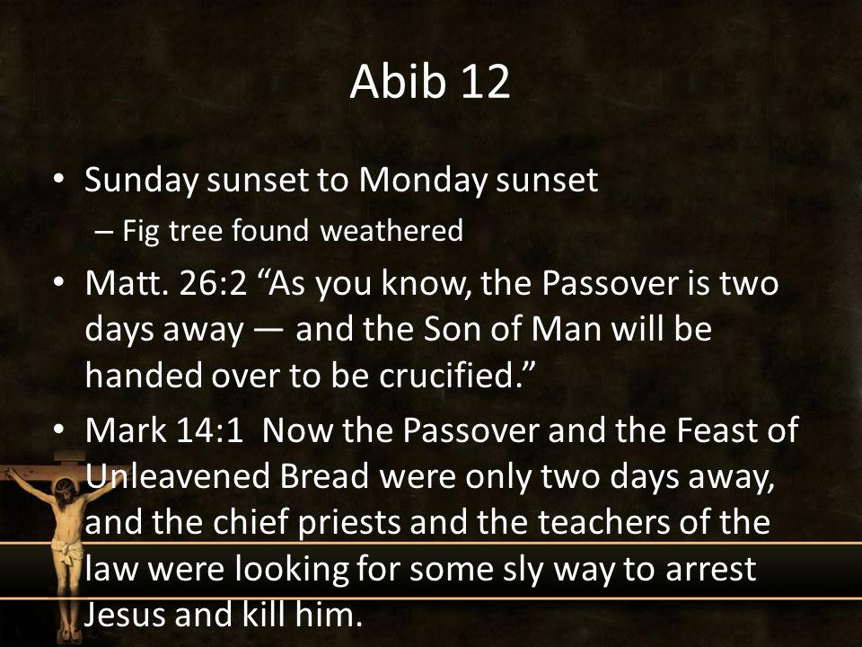Abib 12 Sunday sunset to Monday sunset – Fig tree found weathered Matt.