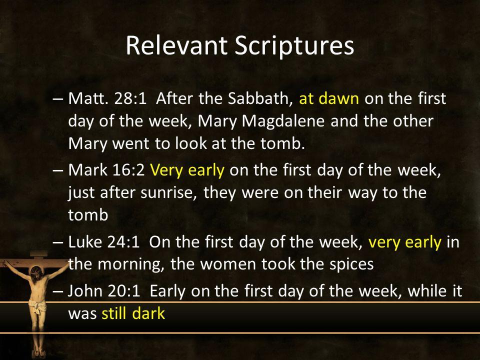 Relevant Scriptures – Matt.