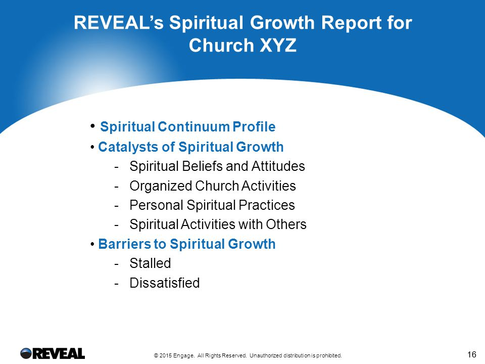 16 Spiritual Continuum Profile Catalysts of Spiritual Growth -Spiritual Beliefs and Attitudes -Organized Church Activities -Personal Spiritual Practices -Spiritual Activities with Others Barriers to Spiritual Growth -Stalled -Dissatisfied REVEAL's Spiritual Growth Report for Church XYZ © 2015 Engage.