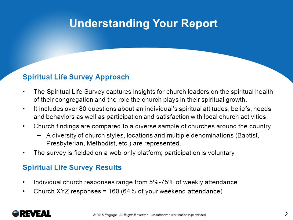 22 Understanding Your Report Spiritual Life Survey Approach The Spiritual Life Survey captures insights for church leaders on the spiritual health of