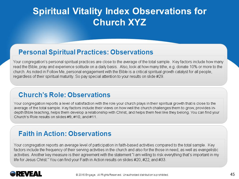 45 Spiritual Vitality Index Observations for Church XYZ Personal Spiritual Practices: Observations Church's Role: Observations Faith in Action: Observ