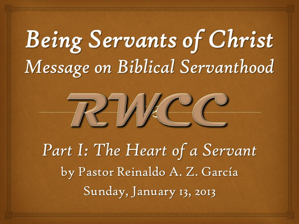 Being Servants of Christ, Message on Biblical Servanthood - Part I: The Heart of a Servant The Heart of a Servant Consequences of living a life in opposition to or absence of Biblical servanthood: 1.For the individual: Jealousy, discontent, bitterness, burnout, disunity, animosity, failure to minister, failure to thrive (perennial spiritual childhood, Hebrews 6.1-3), narcissism, etc.