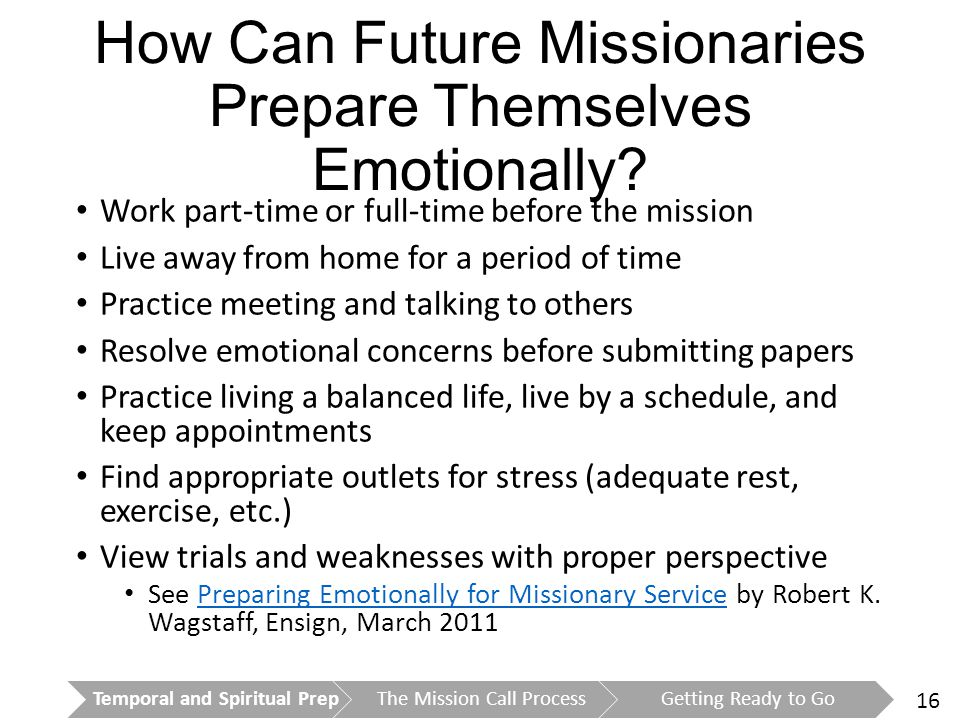 16 How Can Future Missionaries Prepare Themselves Emotionally.
