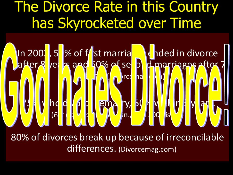 In 2002, 50% of first marriages ended in divorce after 8 years and 60% of second marriages after 7 years.