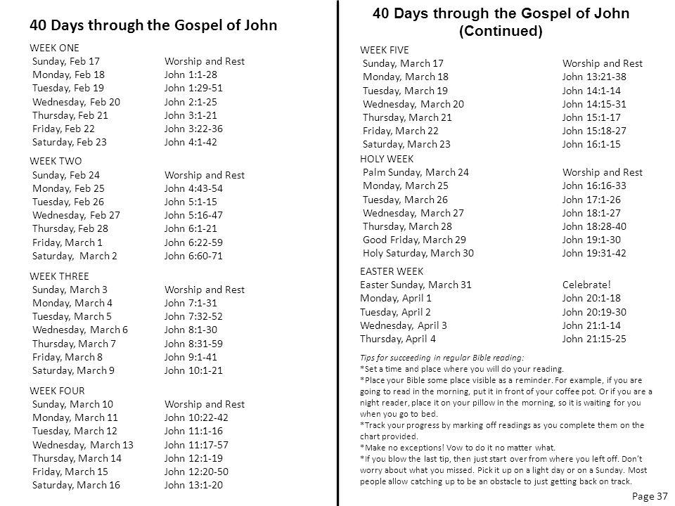 40 Days through the Gospel of John WEEK ONE Sunday, Feb 17Worship and Rest Monday, Feb 18John 1:1-28 Tuesday, Feb 19 John 1:29-51 Wednesday, Feb 20John 2:1-25 Thursday, Feb 21John 3:1-21 Friday, Feb 22 John 3:22-36 Saturday, Feb 23John 4:1-42 WEEK TWO Sunday, Feb 24 Worship and Rest Monday, Feb 25John 4:43-54 Tuesday, Feb 26 John 5:1-15 Wednesday, Feb 27John 5:16-47 Thursday, Feb 28John 6:1-21 Friday, March 1 John 6:22-59 Saturday, March 2John 6:60-71 WEEK THREE Sunday, March 3 Worship and Rest Monday, March 4John 7:1-31 Tuesday, March 5 John 7:32-52 Wednesday, March 6John 8:1-30 Thursday, March 7John 8:31-59 Friday, March 8 John 9:1-41 Saturday, March 9John 10:1-21 WEEK FOUR Sunday, March 10 Worship and Rest Monday, March 11John 10:22-42 Tuesday, March 12 John 11:1-16 Wednesday, March 13John 11:17-57 Thursday, March 14John 12:1-19 Friday, March 15 John 12:20-50 Saturday, March 16John 13:1-20 40 Days through the Gospel of John (Continued) Page 37 WEEK FIVE Sunday, March 17 Worship and Rest Monday, March 18John 13:21-38 Tuesday, March 19 John 14:1-14 Wednesday, March 20John 14:15-31 Thursday, March 21John 15:1-17 Friday, March 22 John 15:18-27 Saturday, March 23John 16:1-15 HOLY WEEK Palm Sunday, March 24Worship and Rest Monday, March 25John 16:16-33 Tuesday, March 26 John 17:1-26 Wednesday, March 27John 18:1-27 Thursday, March 28John 18:28-40 Good Friday, March 29 John 19:1-30 Holy Saturday, March 30John 19:31-42 EASTER WEEK Easter Sunday, March 31Celebrate.
