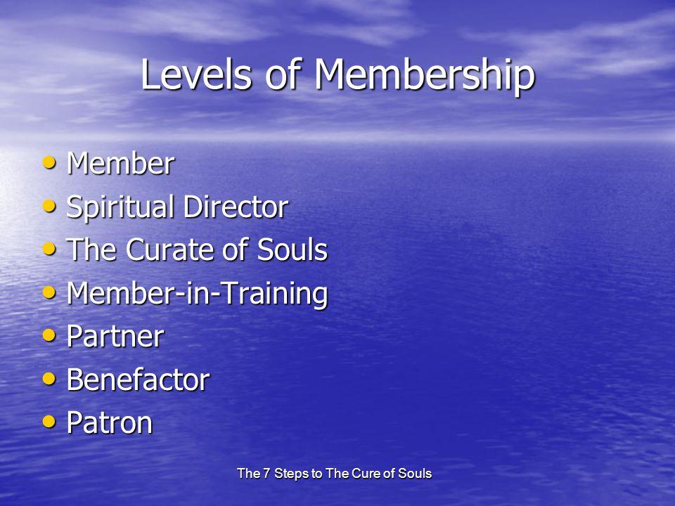 The 7 Steps to The Cure of Souls Levels of Membership Member Member Spiritual Director Spiritual Director The Curate of Souls The Curate of Souls Memb
