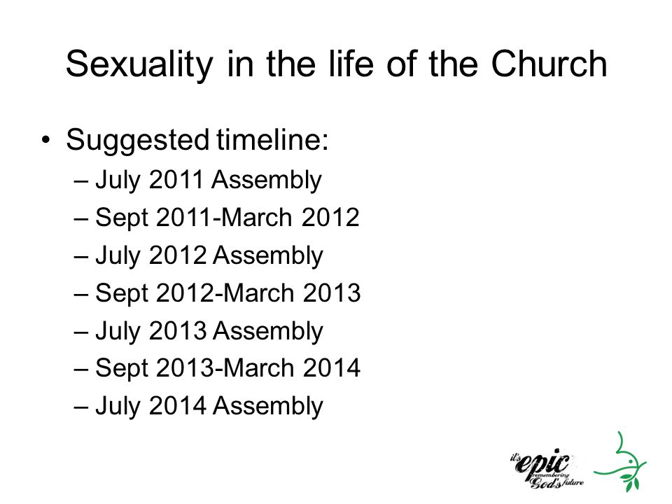 Sexuality in the life of the Church Suggested timeline: –July 2011 Assembly –Sept 2011-March 2012 –July 2012 Assembly –Sept 2012-March 2013 –July 2013 Assembly –Sept 2013-March 2014 –July 2014 Assembly