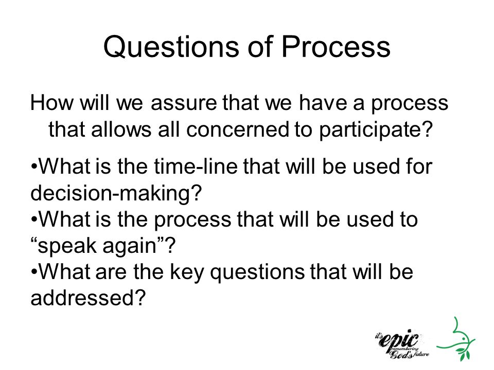 Questions of Process How will we assure that we have a process that allows all concerned to participate? What is the time-line that will be used for d