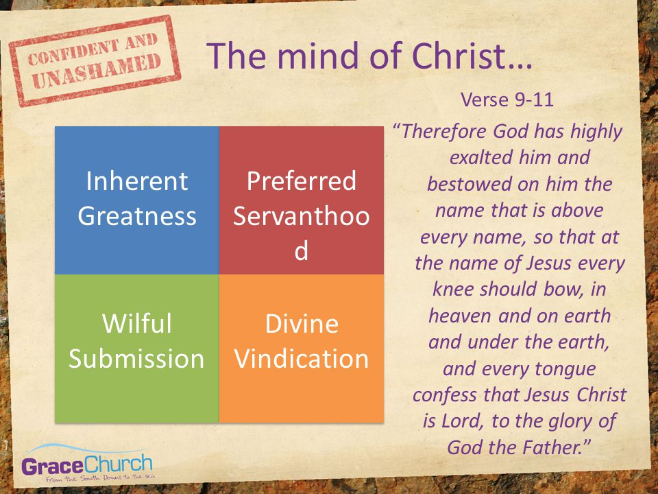 "The mind of Christ… Inherent Greatness Preferred Servanthoo d Wilful Submission Divine Vindication Verse 9-11 ""Therefore God has highly exalted him an"