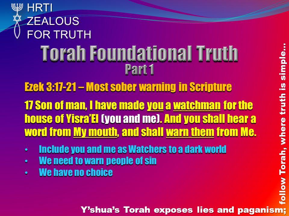 HRTIZEALOUS FOR TRUTH Y'shua's Torah exposes lies and paganism; follow Torah, where truth is simple… Prov 28:9 – Do not bother to pray if you do not do Torah Literal context: - No Torah no God