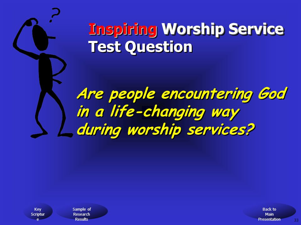 Inspiring Worship Service Inspiring Worship Service Test Question Are people encountering God in a life-changing way during worship services.