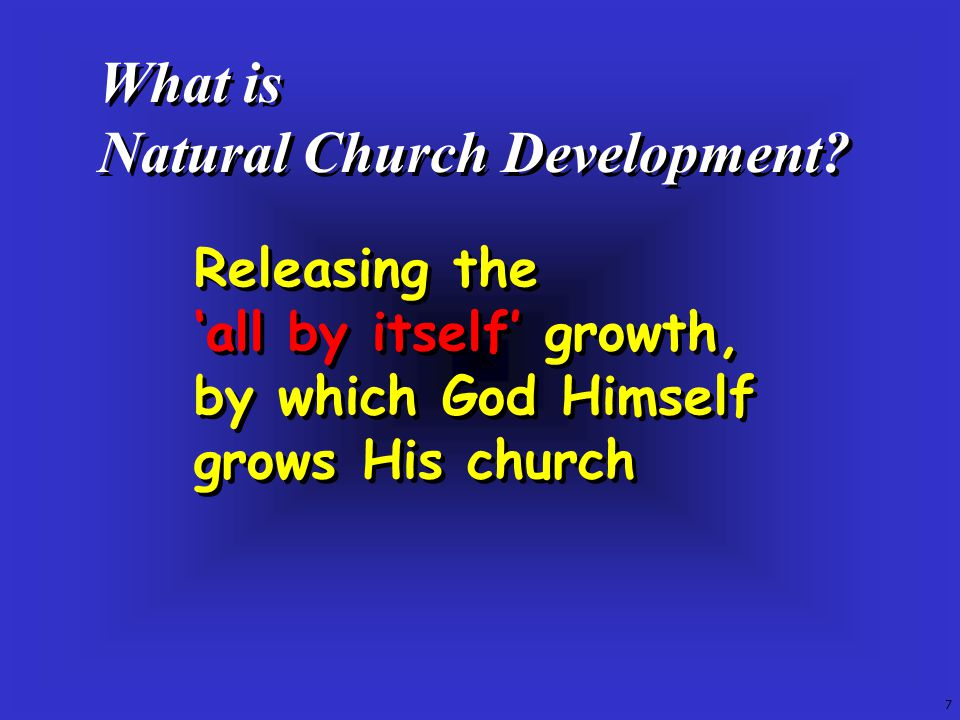 What is Natural Church Development. What is Natural Church Development.