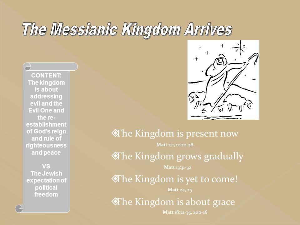  The Kingdom is present now  The Kingdom grows gradually  The Kingdom is yet to come!  The Kingdom is about grace CONTENT: The kingdom is about ad