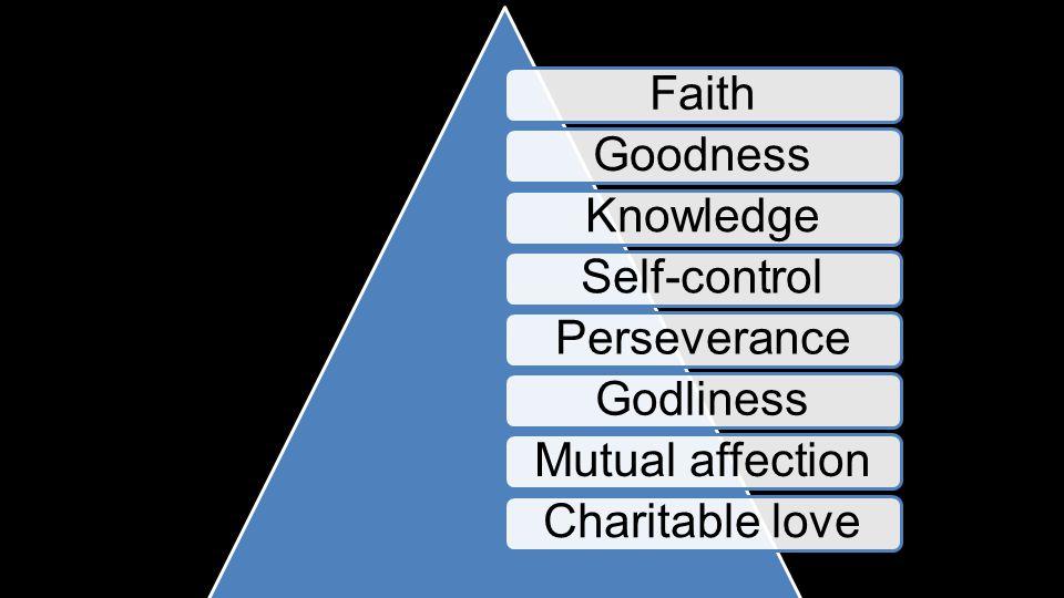 FaithGoodnessKnowledgeSelf-controlPerseveranceGodlinessMutual affectionCharitable love