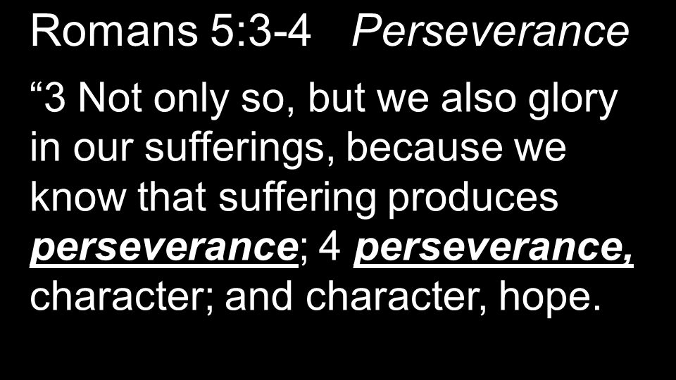 "Romans 5:3-4 Perseverance ""3 Not only so, but we also glory in our sufferings, because we know that suffering produces perseverance; 4 perseverance, c"