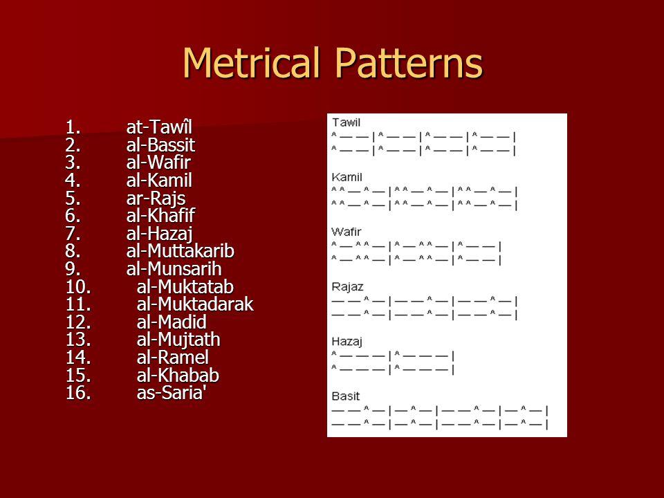 Metrical Patterns 1. at-Tawîl 2. al-Bassit 3. al-Wafir 4.