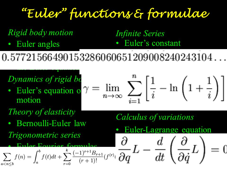 Euler functions & formulae Number Theory Euler's function (or phi-function),  (n), is defined as the number of integers less than n and relatively prime to n, i.e.