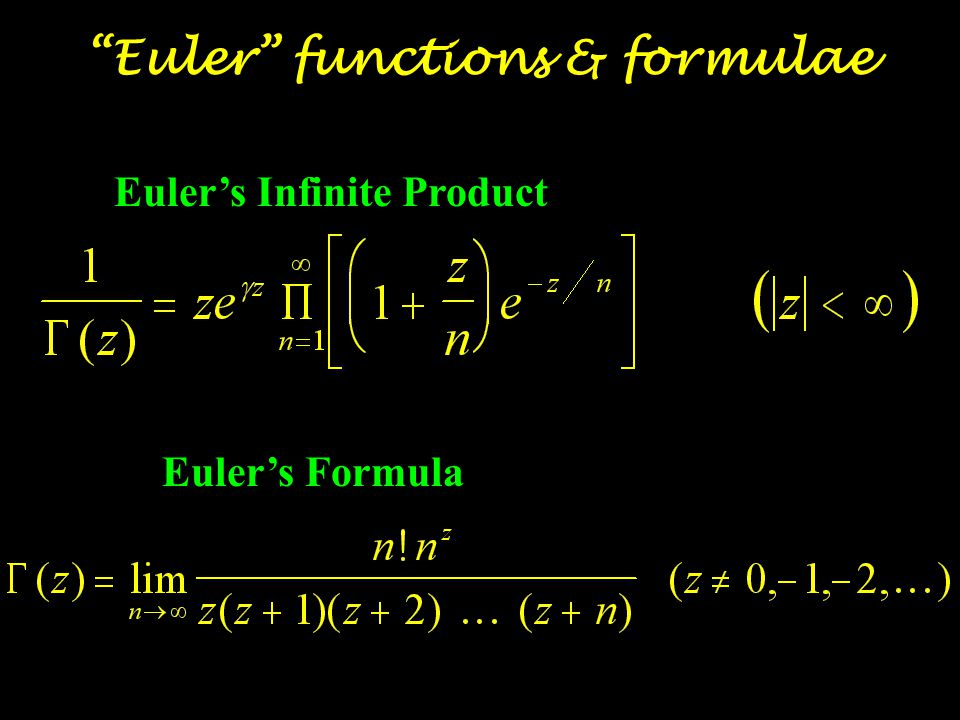 Rigid body motion Euler angles Hydrodynamics the Euler equation Dynamics of rigid bodies Euler's equation of motion Theory of elasticity Bernoulli-Euler law Trigonometric series Euler-Fourier formulas Infinite Series Euler's constant Euler numbers Euler's transformations DEs & Partial Diff Eqs Euler's polygonal curves Euler's theorem on homogeneous functions Calculus of variations Euler-Lagrange equation Numerical Methods Euler-Maclaurin formula Euler functions & formulae