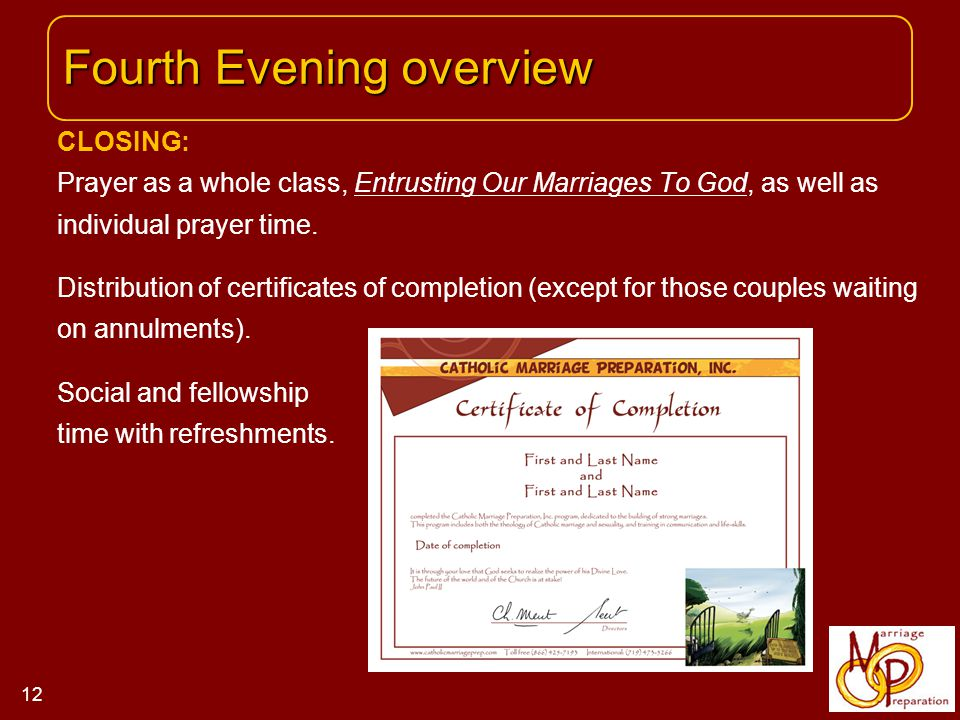 CLOSING: Prayer as a whole class, Entrusting Our Marriages To God, as well as individual prayer time.