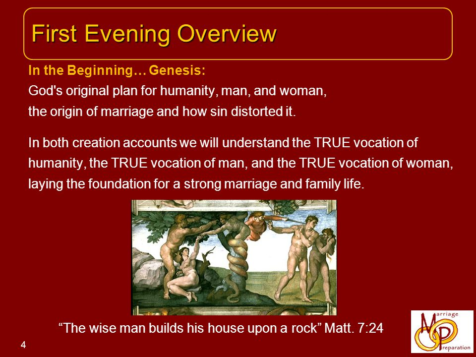 In the Beginning… Genesis: God s original plan for humanity, man, and woman, the origin of marriage and how sin distorted it.