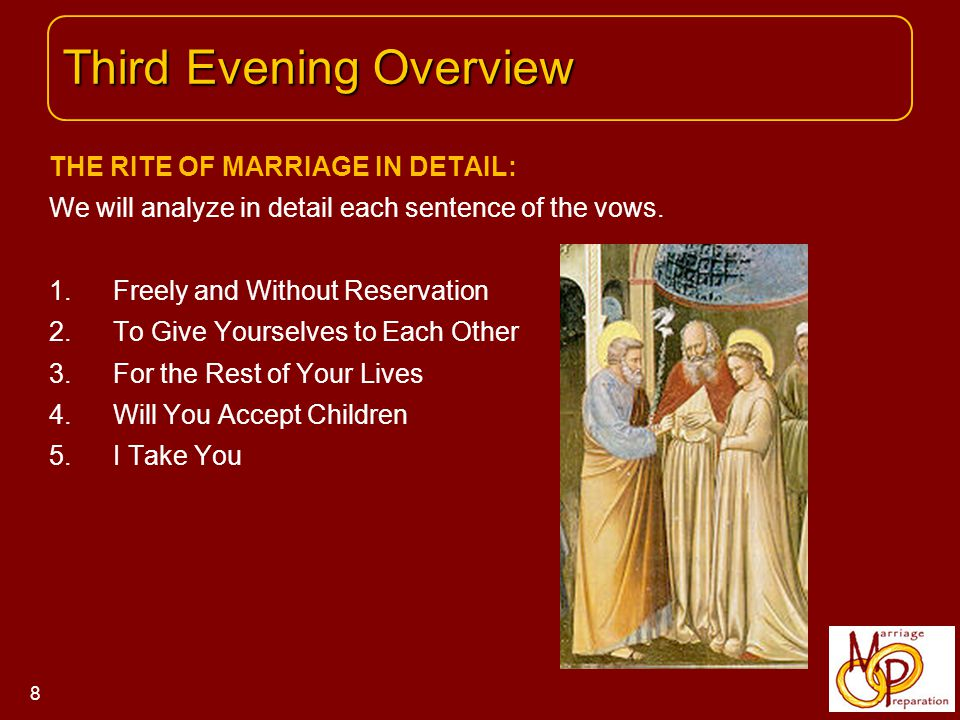 THE RITE OF MARRIAGE IN DETAIL: We will analyze in detail each sentence of the vows.