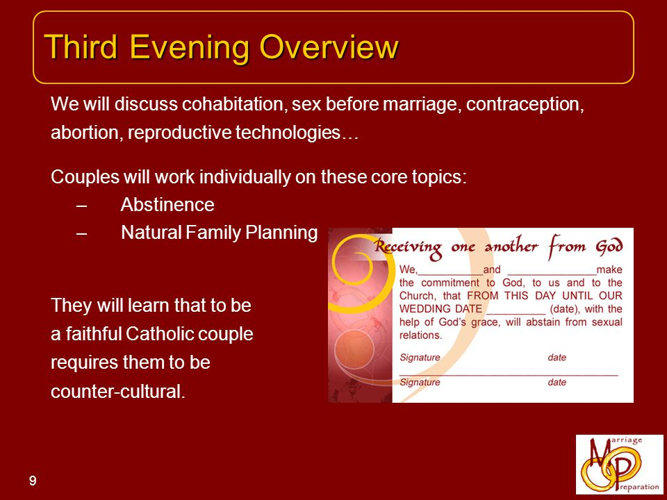 EXPECTATIONS: Each couple will reflect individually on these questions: - What do you expect from marriage.