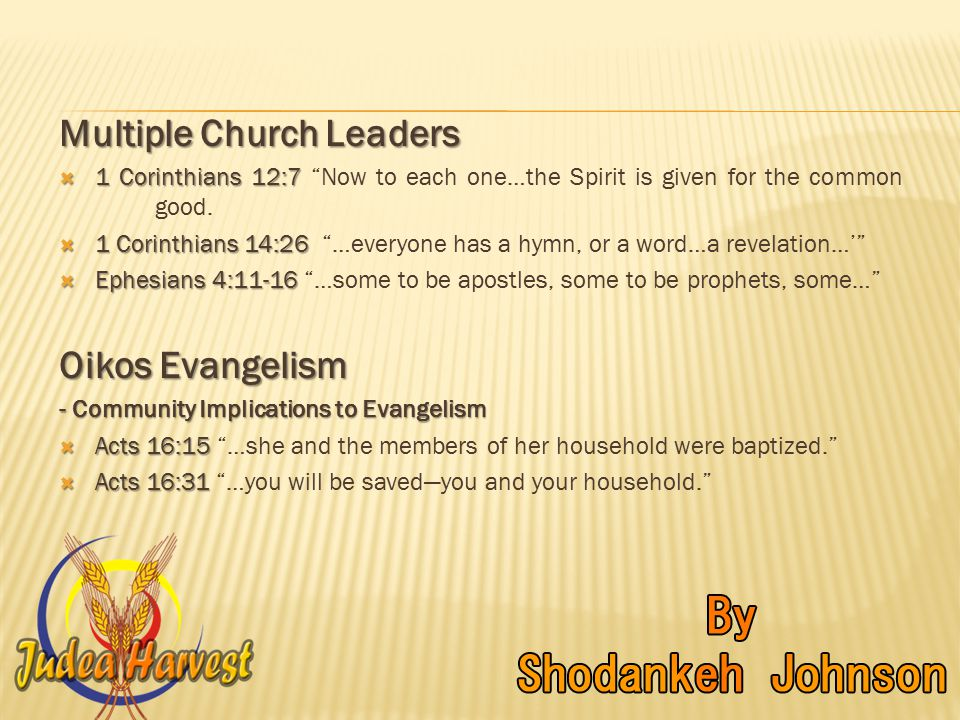 Multiple Church Leaders  1 Corinthians 12:7  1 Corinthians 12:7 Now to each one…the Spirit is given for the common good.