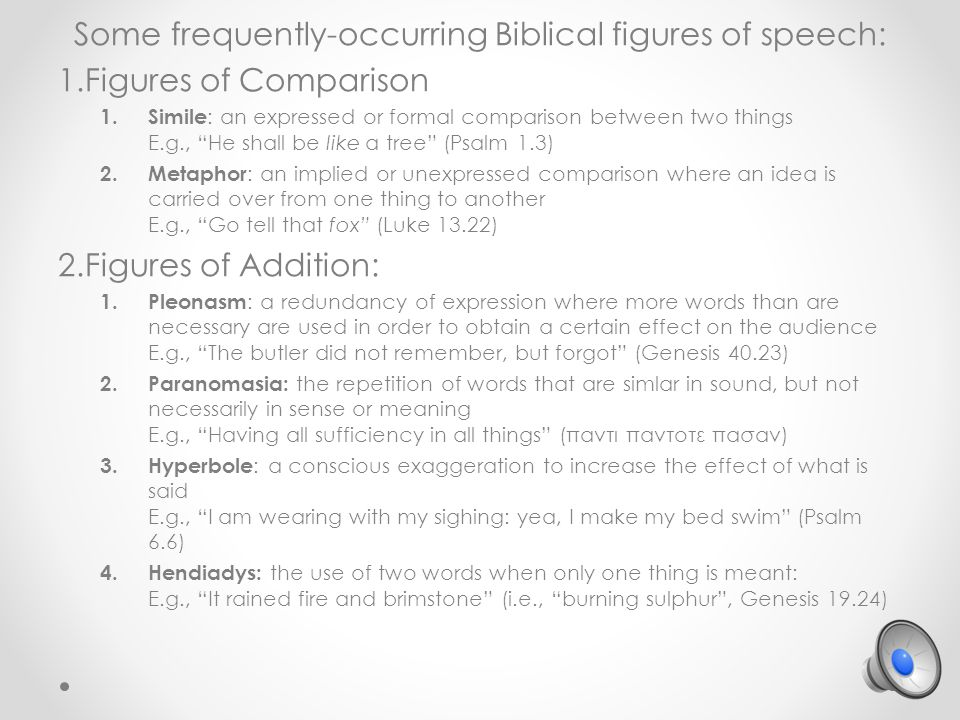 Some frequently-occurring Biblical figures of speech: 1.Figures of Comparison 1.