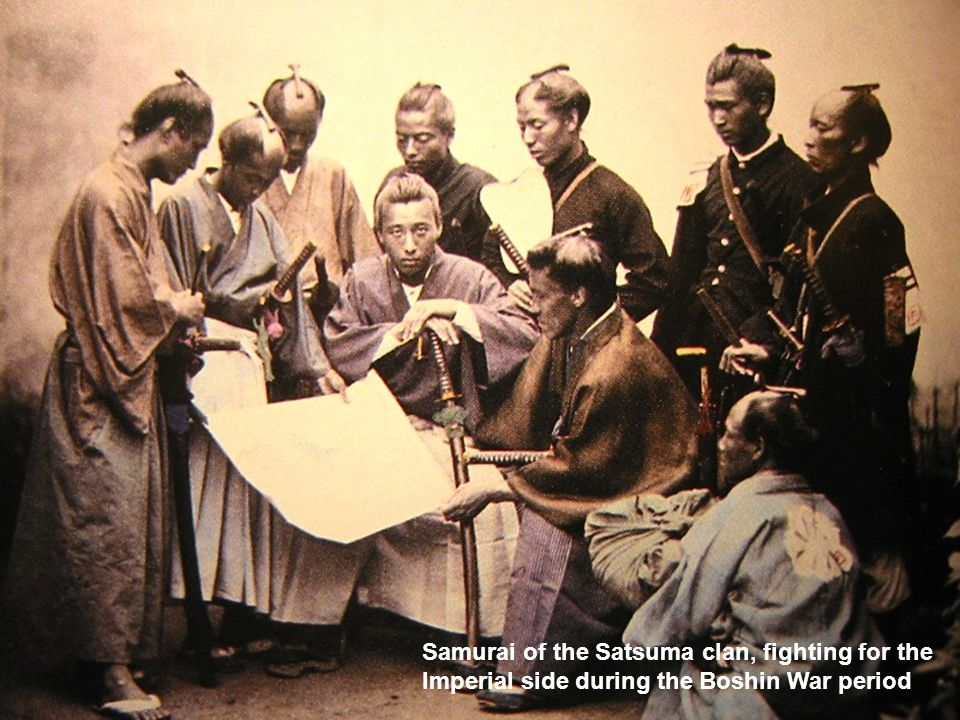 Samurai of the Satsuma clan, fighting for the Imperial side during the Boshin War period
