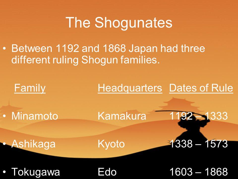 The Shogunates Between 1192 and 1868 Japan had three different ruling Shogun families.