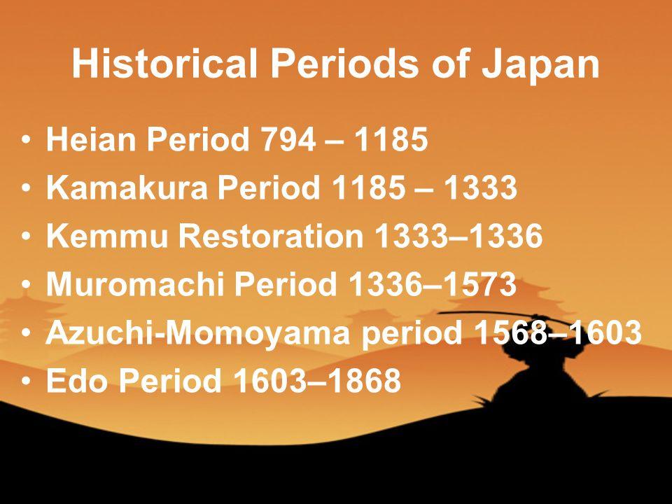 Historical Periods of Japan Heian Period 794 – 1185 Kamakura Period 1185 – 1333 Kemmu Restoration 1333–1336 Muromachi Period 1336–1573 Azuchi-Momoyama period 1568–1603 Edo Period 1603–1868