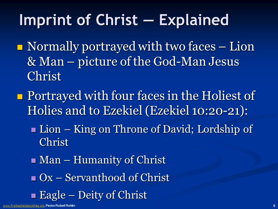 www.firstbaptistlascolinas.orgwww.firstbaptistlascolinas.org, Pastor Robert Rohlin 6 Imprint of Christ — Explained Normally portrayed with two faces – Lion & Man – picture of the God-Man Jesus Christ Normally portrayed with two faces – Lion & Man – picture of the God-Man Jesus Christ Portrayed with four faces in the Holiest of Holies and to Ezekiel (Ezekiel 10:20-21): Portrayed with four faces in the Holiest of Holies and to Ezekiel (Ezekiel 10:20-21): Lion – King on Throne of David; Lordship of Christ Lion – King on Throne of David; Lordship of Christ Man – Humanity of Christ Man – Humanity of Christ Ox – Servanthood of Christ Ox – Servanthood of Christ Eagle – Deity of Christ Eagle – Deity of Christ