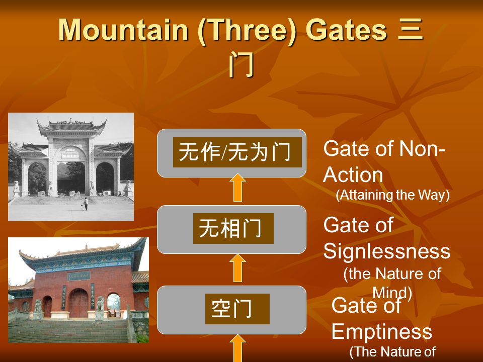 "The word ""three"" sounds like the word for ""mountain"" in Chinese. Therefore, the ""three gates"" were also synonymous with the term ""Mountain Gate."" The"