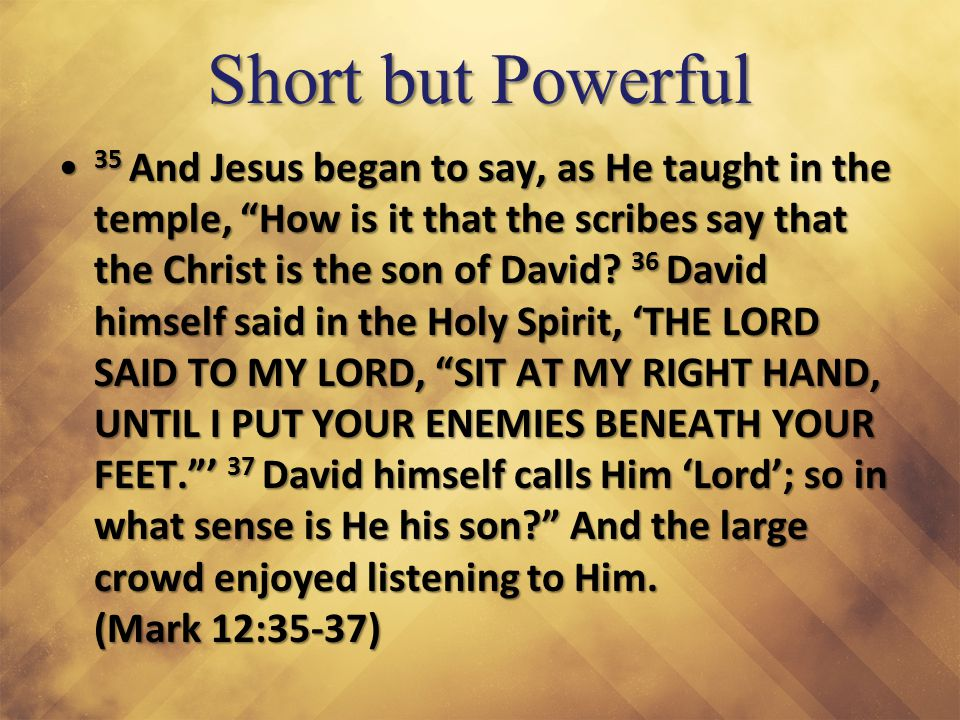 Son of David And Jesus began to say, as He taught in the temple, How is it that the scribes say that the Christ is the son of David.