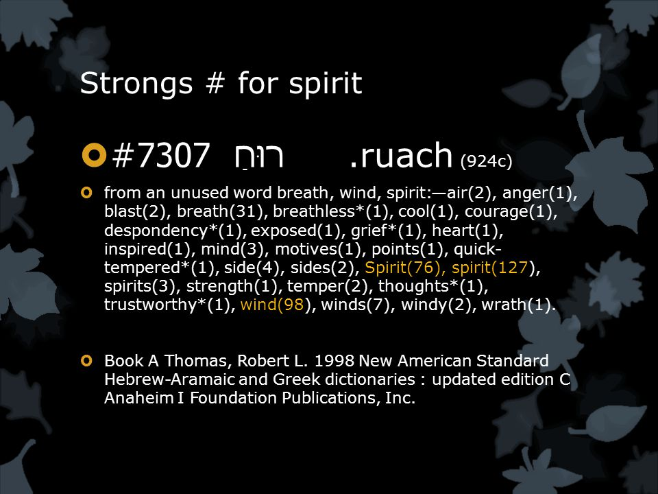 Strongs # for spirit  #7307.