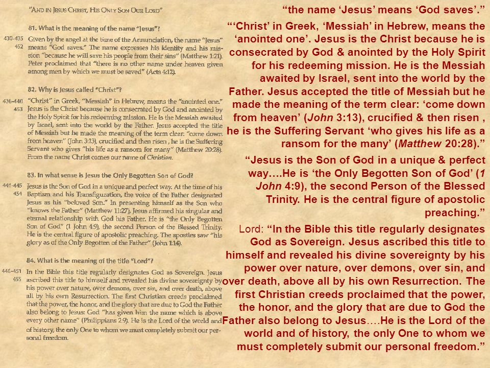 """""""the name 'Jesus' means 'God saves'."""" """"'Christ' in Greek, 'Messiah' in Hebrew, means the 'anointed one'. Jesus is the Christ because he is consecrated"""