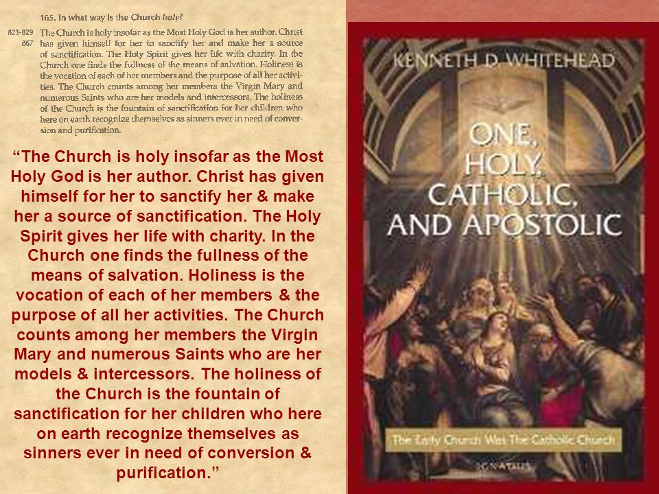 """""""The Church is holy insofar as the Most Holy God is her author. Christ has given himself for her to sanctify her & make her a source of sanctification"""