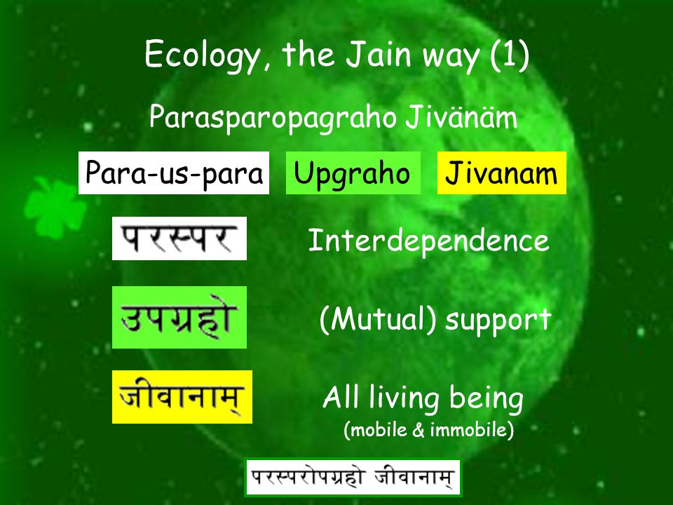 "7 Ecology, the Jain way Organisms have relationship with one another is stated in Jain's tattvarth Sutra. ""All life is bound together by the mutual su"