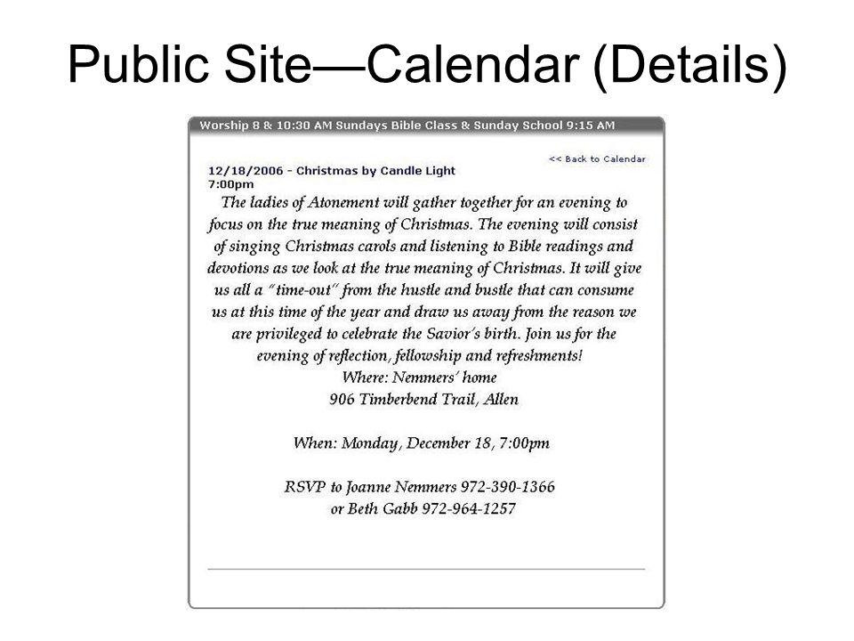 Public Site—Calendar (Details)