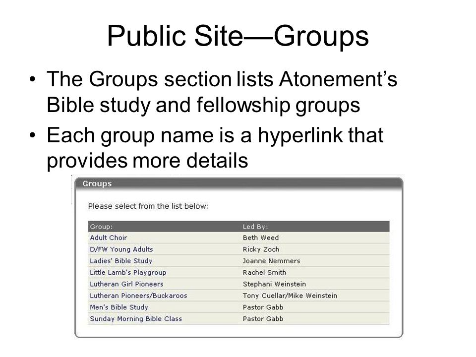 Public Site—Groups The Groups section lists Atonement's Bible study and fellowship groups Each group name is a hyperlink that provides more details