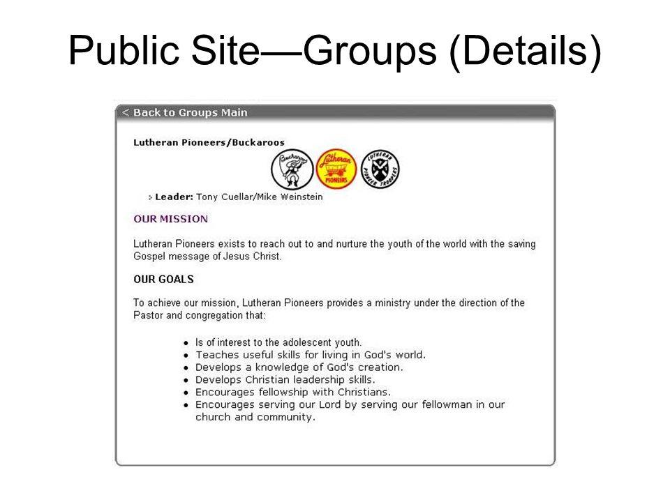 Public Site—Groups (Details)
