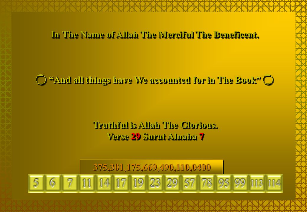 """In The Name of Allah The Merciful The Beneficent.  """"And all things have We accounted for in The Book""""  Truthful is Allah The Glorious. Verse 29 Sura"""