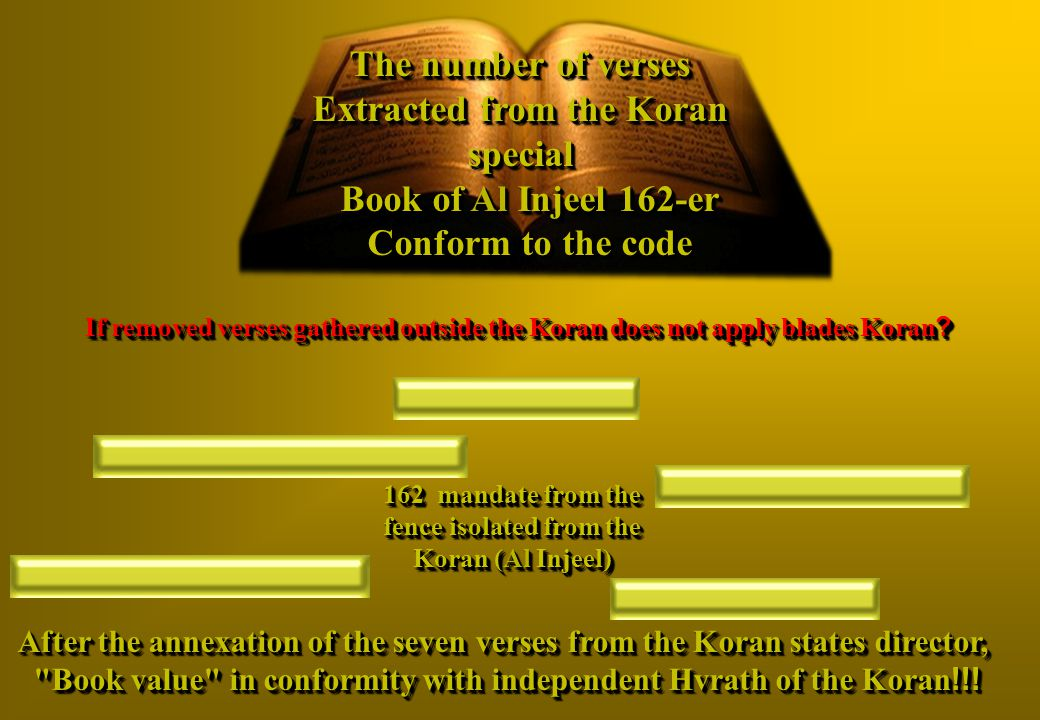The number of verses Extracted from the Koran special Book of Al Injeel 162-er Conform to the code 162 mandate from the fence isolated from the Koran (Al Injeel) Sept - Oft repeated (Verses If removed verses gathered outside the Koran does not apply blades Koran.