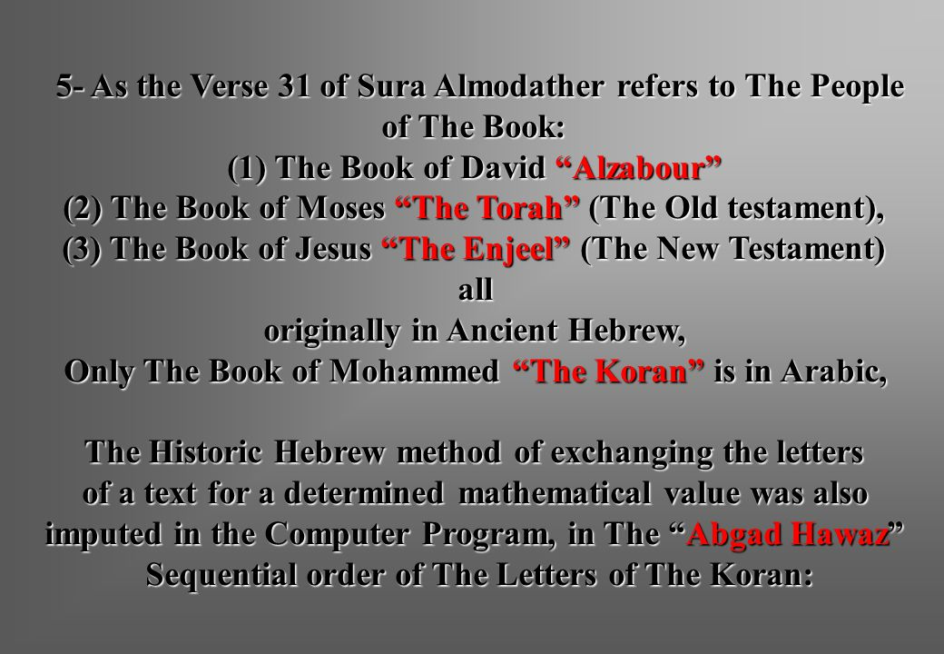 """5- As the Verse 31 of Sura Almodather refers to The People of The Book: (1) The Book of David """"Alzabour"""" (2) The Book of Moses """"The Torah"""" (The Old te"""