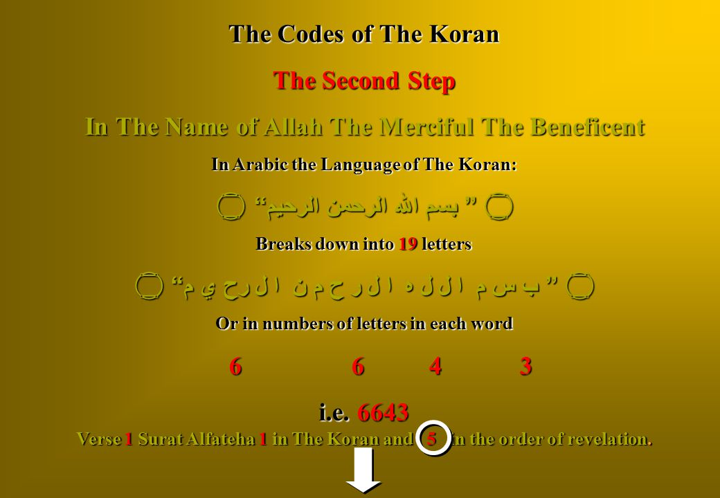 """The Codes of The Koran The Second Step In The Name of Allah The Merciful The Beneficent In Arabic the Language of The Koran:  """" بسم الله الرحمن الرحي"""